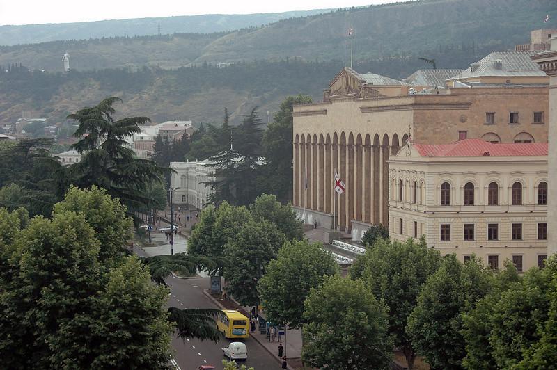 Rustaveli Boulevard and Parliament building, Tbilisi, Republic of Georgia.