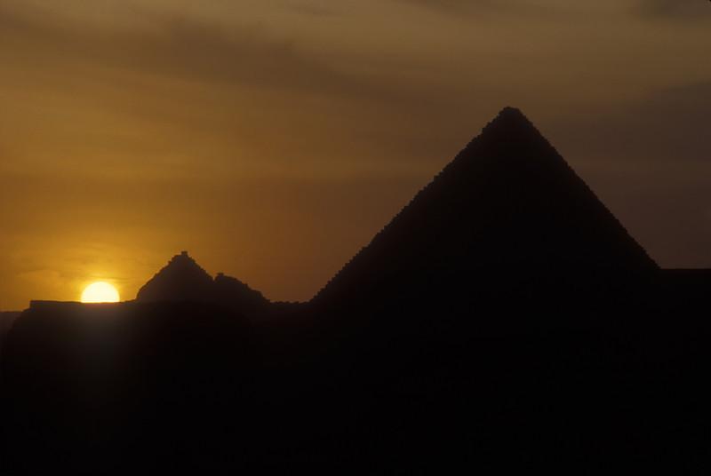 Sunset at the pyramids of Giza, Egypt.