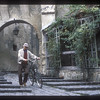 Man and bicycle, Sighisoara, Transylvania, Romania.
