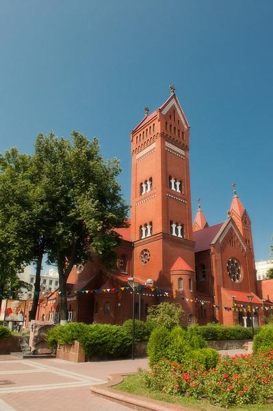 Red Roman Catholic Church, Independence Square (Ploscha Nezalezhnastsi), Minsk, Belarus.
