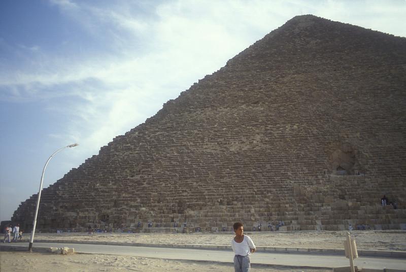 Boy and Pyramid, Giza, Egypt.