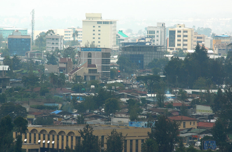 Detail of downtown Addis Ababa, Ethiopia.