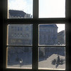 View through a window onto a square in downtown Bratislava, Slovakia.
