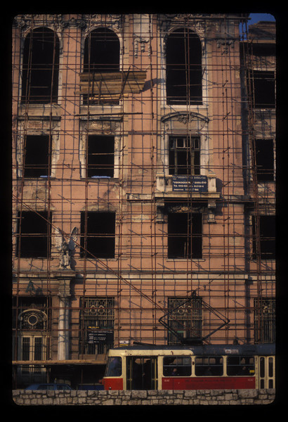 Scaffold to repair war damage in Sarajevo, Bosnia.
