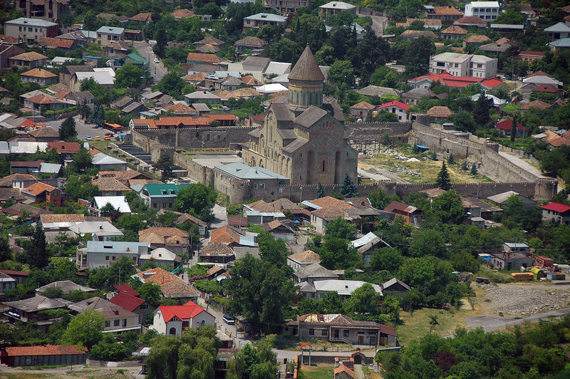 Georgian Orthodox Svetiskhoveli Cathedral, first built in the 4th century, in Mtskheta, the ancient capital of the Republic of Georgia.
