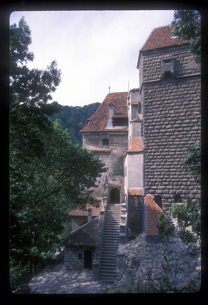 Around back at Bram Castle, Bran, Romania, marketed as the home of the star of the book Dracula, by Bram Stoker.
