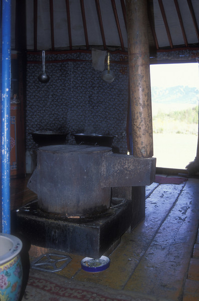 Interior of a ger in rural Mongolia.
