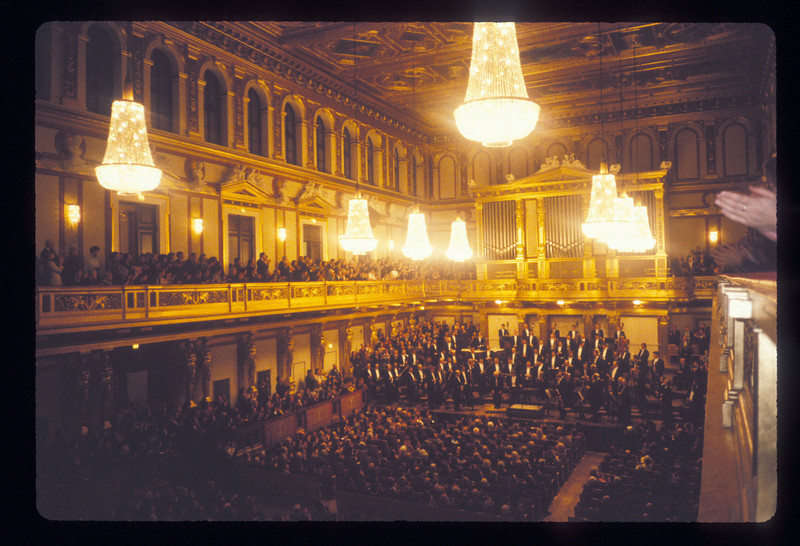 The Vienna Philharmonic Orchestra with Mstislav Rostropovich at the Musikverein, Vienna, Austria.