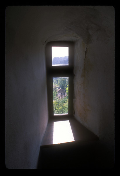 Window in Bran Castle, Bran, Romania, marketed as the home of the star of the book Dracula, by Bram Stoker.