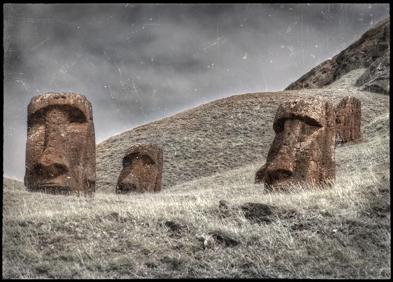 At the Rano Raraku Quarry, Easter Island (Rapa Nui).