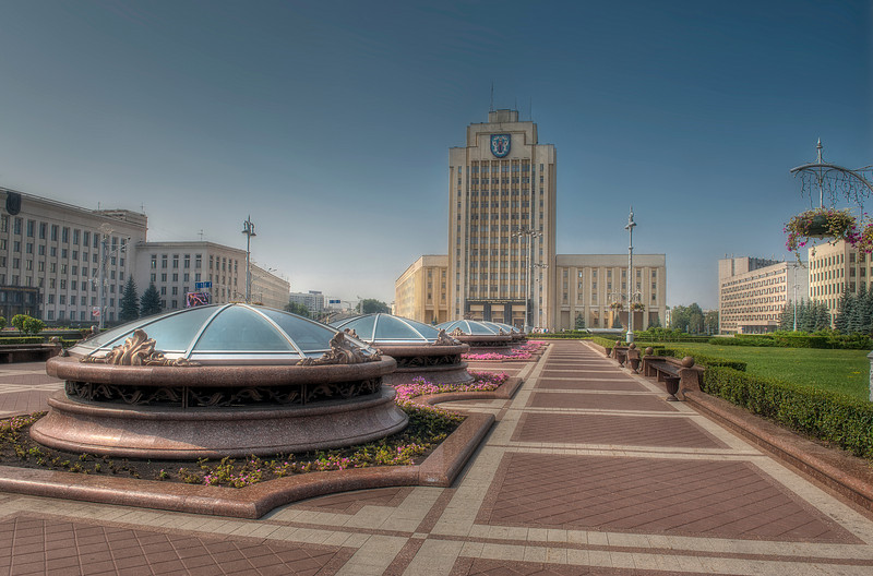 HDR: Underground mall and government buildings, Independence Square, Minsk, Belarus.