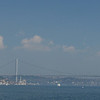 Dolmanbace Palace and Bosphorus bridge across the Bosphorus Strait, Istanbul, Turkey
