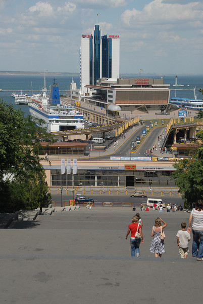 Potemkin Stairs to the port of Odessa, Ukraine.