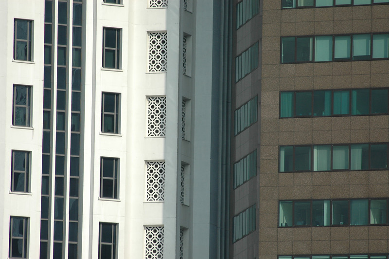 Detail of buildings, downtown Singapore.