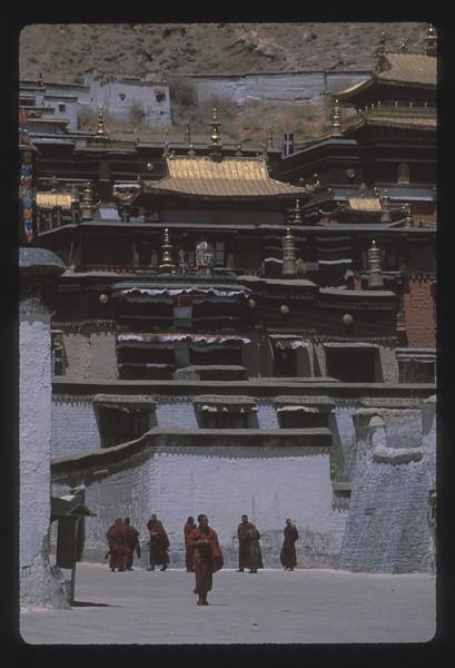 Monks at Tashilumpo Monastery, Shigatse, Tibet.