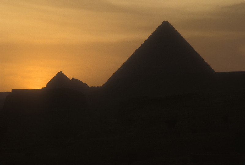 Sunset at the pyramids of Giza, Egypt.