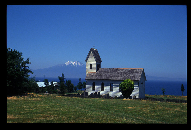 Lutheran church on Llanquihue Lake, the lakes region of Chile.