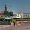 HDR: The Polish or Red Roman Catholic Church across Independence Square (Ploscha Nezalezhnastsi), Minsk, Belarus.