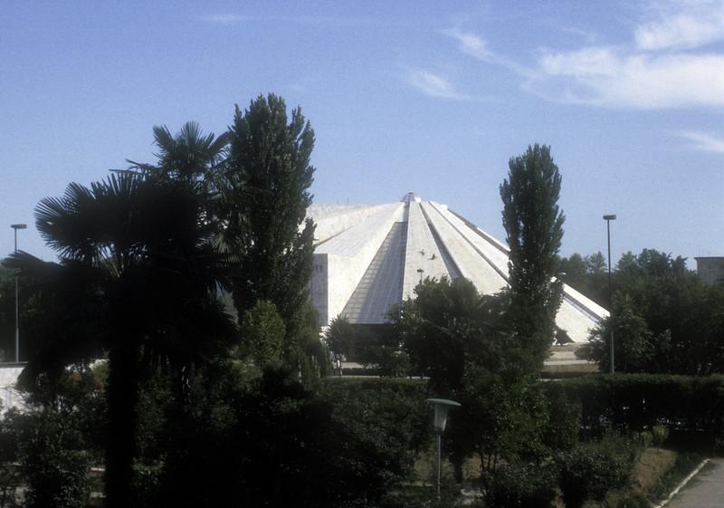 International Center of Culture, formerly Enver Hoxha museum, also called Piramida, downtown Tirana, Albania.