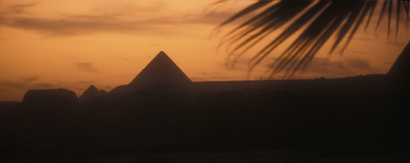 Twilight at the Pyramids of Giza, Egypt.