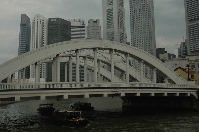 Bridge and canal traffic, Singapore.