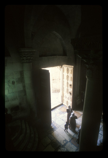 Entrance to the Church of the Holy Sepulchre, old walled Jerusalem.