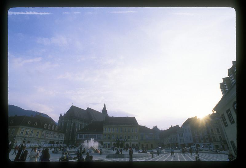 The central square in Brasov, Transylvania, Romania.