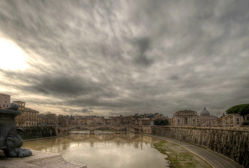 The Tiber River and the Vatican (dome at right), Rome, Italy.