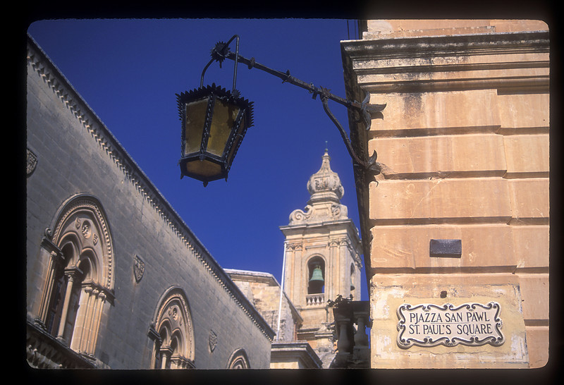 Lamp & bell tower, St. Paul's Square, Valetta, Malta.
