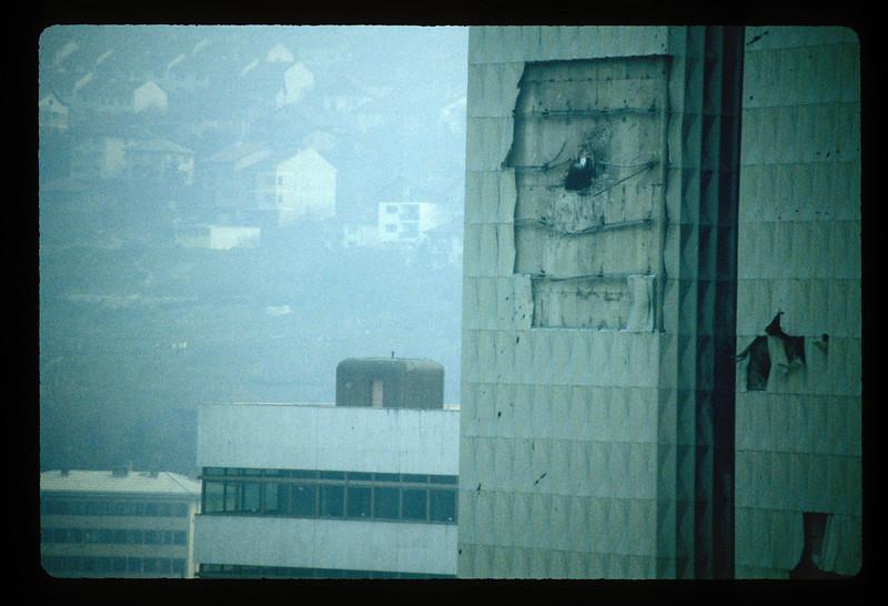 Detail of damaged Bosnian parliament building, Sarajevo, Bosnia, 1997.