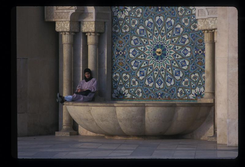 Woman at Hassan II mosque, Casablanca, Morocco.
