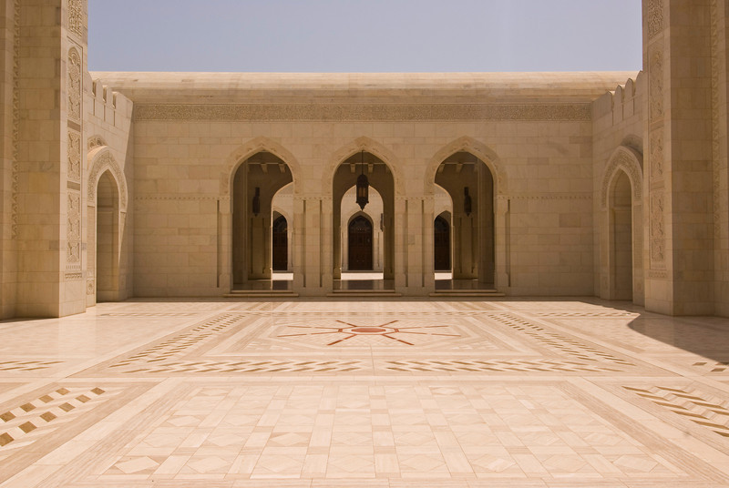 Courtyard of Sultan Qaboos Grand Mosque, Muscat, Oman.