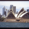 Opera House and skyline from Sydney Harbor, Australia.
