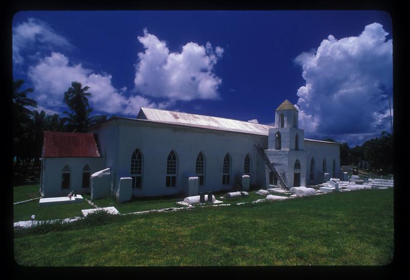 Church, Aitutaki Island, Cook Islands.