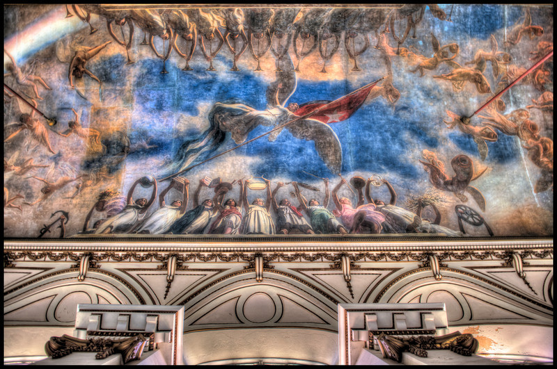 The ceiling of former Cuban President Fulgencio Battista's Presidential Mansion, which is now the Museum of the Revolución, Havana, Cuba - HDR.