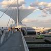 Looking east across the pedestrian bridge from the Sunburst sculpture