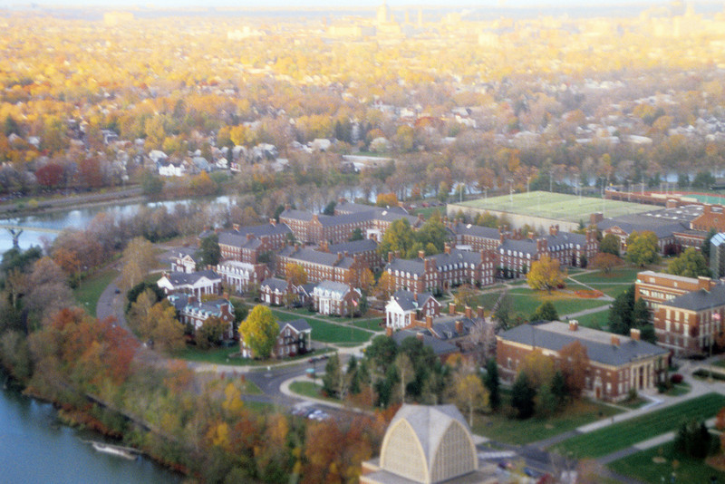 University of Rochester from the air.  A little fuzzy due to window.
