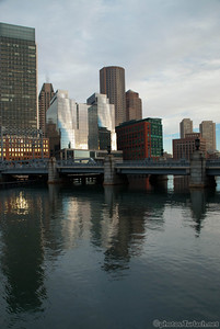 Fort Point Channel area skyline shortly after sunrise.