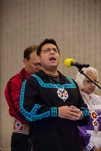 Brad Joe sings the Lord's Prayer in Choctaw to open the gathering.