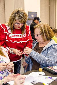Kay Jackson teaches Choctaw beading to Jolene Lewis of Healdton.