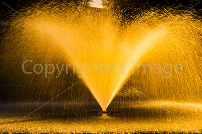 Fountain in sunset light