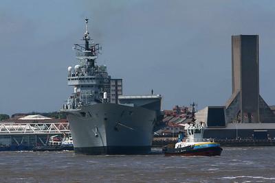 Ark Royal arrives in Liverpool