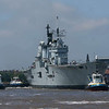 The Fleet Flagship, HMS Ark Royal, arrives at the Princes Dock landing stage in Liverpool on 6th June 2008. Ark Royal leaves the Princes Dock in Liverpool on 9th June 2008