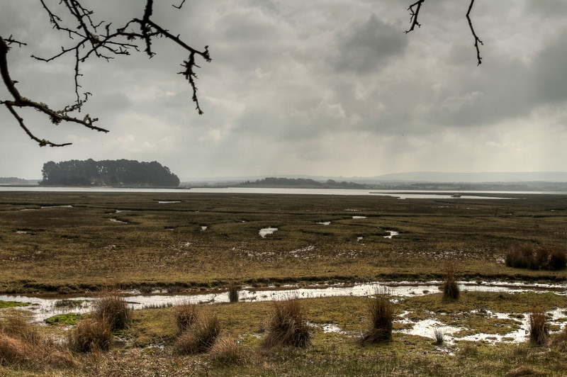Poole Harbour and islands looking towards the oil wells at Wytch Farm