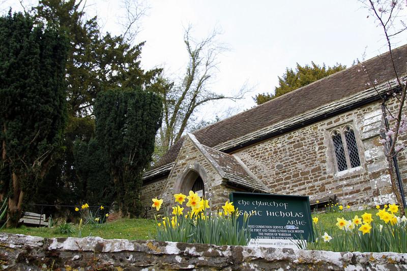 The Church of St Nicholas, Arne, amidst the daffodils