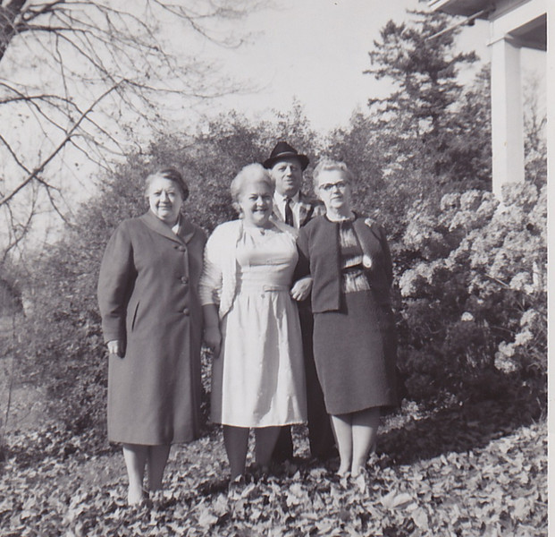 October 1964 - Edna, Ada, Art Colbourne, Ethel Colbourne and the home in Colborne.