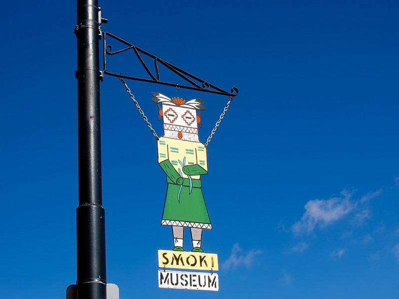 Smoki Museum signs line the streets in Prescott. Sunny February 2010