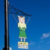 Smoki Museum signs line the streets in Prescott. Sunny February 2010