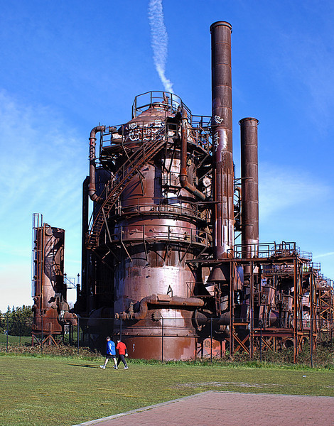 Gas works Park.  The former 1906-1956 Seattle Gas Light Company coal gasification plant. Now a 19+ acre park on the north shore of lake union which opened in 1975. I remember as a kid being allowed to climb on many areas of the machinery, most of which is now fenced for safety.