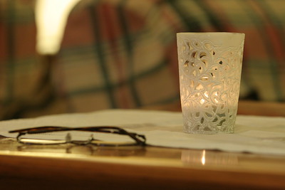 Glasses and candles on the coffee table